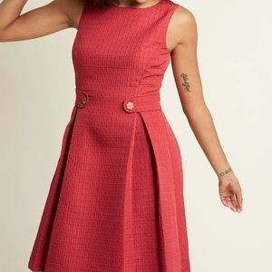 ModCloth So Sixties Pleated A-line Textured Dress